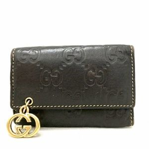 GUCCI Leather Shima GG Logo Pattern Key